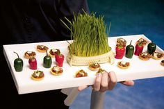 Spice up the presentation of a serving platter (use cream cheese to secure pepper halves & chive tray to the platter)