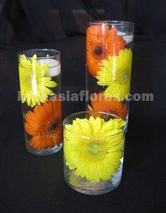 #orange and #yellow gerbera daisies #wedding #centerpiece
