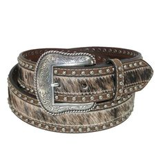 Genuine hair on calf belt has a classic look and feel. Smooth leather frames the hair and has antiqued silver nail heads running the length of the belt. The silver tone buckle is removable.