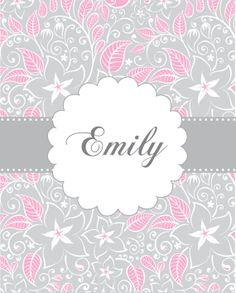 Personalized childrens art,  pink gray kids wall art,  name prints for girls, art for baby girls, kids prints, nursery room decor