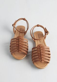 Whimsical Wanderlust Sandal in Camel. When the weather is warm and you have an open afternoon, youre always in the mood to stroll in these strappy sandals. #tan #modcloth