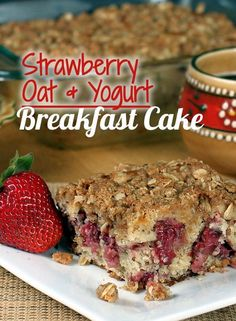 Strawberry Oat Yogurt Breakfast Cake. With a streusel topping & hearty whole grain goodness.
