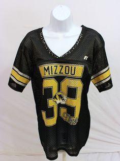 NWT Womens Missouri MIZZOU Tigers Football Jersey NCAA Black Rhinestones  Large f20895398