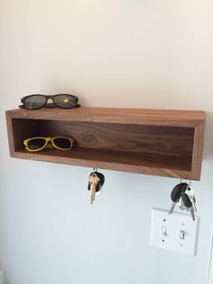 Floating Shelf / Modern Entryway Wall Organizer with Magnetic Key Hooks in Choice of Hardwood, Mid Century Modern Style Modern Shelving, Shelves, Wall Organization, Mid Century Modern Style, Entryway Organizer Wall, Floating Shelves, Floating, Entryway Organization, Modern Entryway
