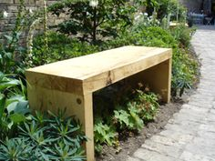 Simple oak garden bench