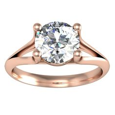 Split Shank Solitaire Engagement Ring - click to enlarge