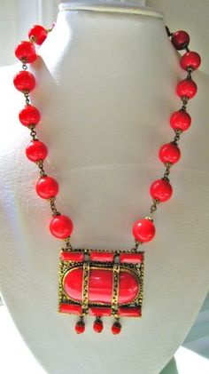 Vintage Art Deco Red Czech Glass Beaded Necklace Marked CZECHOSLOVAKIA