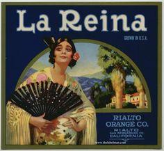 LA REINA Vintage Orange Crate Label