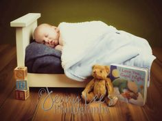 Newborn Photo Prop Bed with Mattress & by TurtlePondWoodWorks