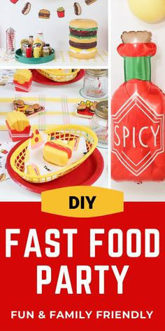 Set up a kids party with a fun fast food theme with these place setting, backdrop, and condiment station ideas from fernandmaple.com!