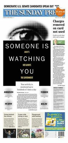 Someone is watching you (and it's not always the government), Asbury Park Press, by Suzy Palma Newspaper Design, Asbury Park, Suzy, News Design, Studio, Sweet, Journals, Cover Pages, Candy