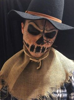 Scarecrow Halloween Makeup, Halloween Costumes Scarecrow, Pretty Halloween, Scary Costumes, Mens Halloween Makeup, Diy Halloween, Scarecrow Face Paint, Horror Costume, Halloween Face Paint Scary