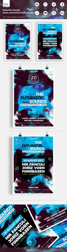 These futuristic flyer templates are great for club, bar, lounge, festival, party, concert, event, workshop or other advertising purposes. Trendy design, beautiful colors, unique and easy to edit.