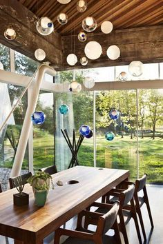 I bet it is quite beautiful when the sunlight hits the glass balls