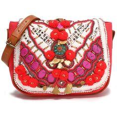 Antik Batik Embellished cotton shoulder bag (€125) found on Polyvore featuring women's fashion, bags, handbags, shoulder bags, papaya, embellished handbags, cotton messenger bag, cotton shoulder bag, beaded purse and embellished purse