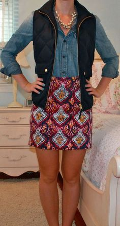 What I love about this: • The bold pencil skirt • The denim • The metallic statement necklace