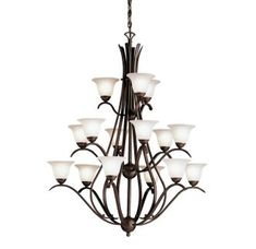 Livex Lighting 6159-58 Manchester 9 Light Two Tier 6+3 Imperial Bronze Chandelier with Vintage Alabaster Glass