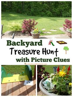 Backyard Treasure Hunt with Picture Clues. This is the perfect activity for a Memorial Day picnic, of July celebration, or any other summertime get together! Treasure Hunt For Toddlers, Kids Treasure Hunt Clues, Treasure Hunt Birthday, Scavenger Hunt Clues, Scavenger Hunt For Kids, Backyard Scavenger Hunts, Outdoor Birthday, Outdoor Pictures, Summer Activities