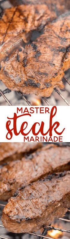Master Steak Marinade - better than any fancy steakhouse!! A few simple ingredients that packs a ton of flavor into your steak! Can make marinade ahead and refrigerate for later. Perfect for grilling steaks for a crowd! Red wine vinegar, chili sauce, oil, soy sauce, Worcestershire, dry mustard, salt, pepper and garlic. Seriously delicious!!!