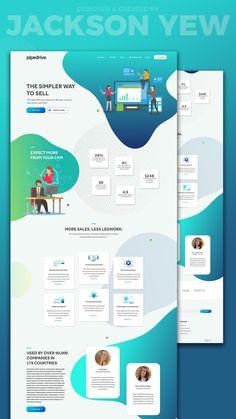 Pipedrive Landing Page Redesign by Jackson Yew Website Design Inspiration, Best Website Design, Custom Website Design, Website Design Layout, Layout Design, Material Design Website, Web Layout, Ui Design Mobile, Web Ui Design
