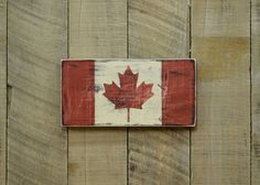 Small Distressed Canada Wood Flag  Hand Painted by SidewaySigns, $15.00