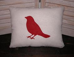 Red Bird Pillow FREE SHIPPING Decorative by FannyElizabethDesign, $38.00