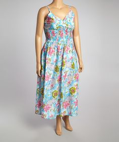 Another great find on #zulily! Blue & Green Floral Shirred Surplice Maxi Dress - Plus #zulilyfinds