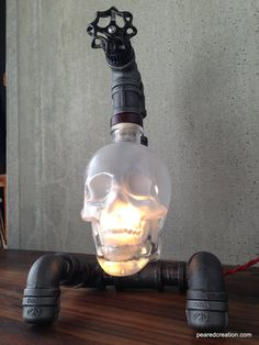 Crystal Head Vodka Lamp Skull Light by newwineoldbottles on Etsy