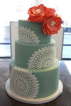green and coraldoily  #lace wedding cake