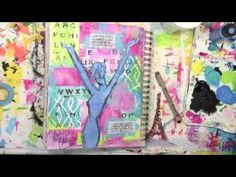 Telegram from my Muse in My Art Journal by Carolyn Dube with StencilGirl stencils.