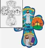 Large 12 inch Children's Color Your Own Holy Week Crosses. Celebrate with an easy Easter craft! Heavy Paper. 12 inch Preprinted for Palm Sunday,  Maundy Thursday, Good Friday, or Easter Sunday drawings. Blank on back. Great for CYO or Sunday school.