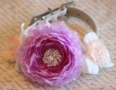 Peach and Lavender wedding dog collar, Floral Dog Collar, Pet Wedding Accessory, Peach and Lavender wedding accessory, flower with pearls