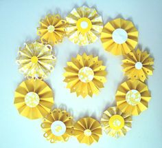 Paper Yellow Rosette Flowers set of 11 rosettes yellow by Wcards, $8.50