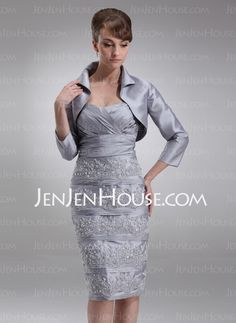Mother of the Bride Dresses - $134.39 - Sheath Sweetheart Knee-Length Taffeta Mother of the Bride Dresses With Embroidered  Ruffle (008006511) http://jenjenhouse.com/Sheath-Sweetheart-Knee-length-Taffeta-Mother-Of-The-Bride-Dresses-With-Embroidered-Ruffle-008006511-g6511