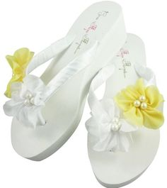9a3329756c69 Bridal Flip Flops Wedding Flip Flops Bridal Flip Flops Flower Ivory Wedge  Platform Heel Satin White