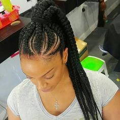 Braided Ponytail Ghana Braids Hairstyles Feed In Braids Box Braids Hairstyles, My Hairstyle, African Hairstyles, Braided Ponytail Hairstyles, Hairdos, Curly Hair Men, Curly Hair Styles, Natural Hair Styles, Black Girl Braids