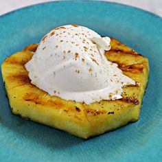 Cinnamon Rum-Spiked Grilled Pineapple with Ice Cream