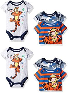 Disney Baby Boys' 3 Pack of Tigger Bodysuits, Gray, 6/9 Months