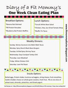 Diary of a Fit Mommy's 7 Day Clean Eating Plan