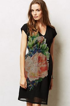 Pixelated Fluer Dress - Anthropologie.  I own this dress and love it beyond reason. I love that the bold graphic is balanced out by the black and the overall simple cut.  Plus, it's comfortable and has pockets!