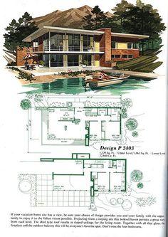 Mid-century Modern House Floorplan| P2403