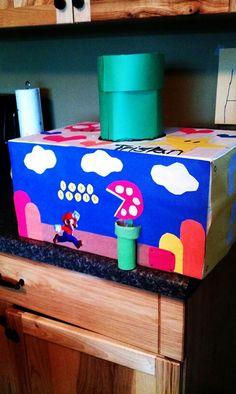 Mario Valentine box Valentines For Boys, Valentines Day Party, Valentine Day Cards, Valentine Crafts, Valentine Activities, Homemade Valentine Boxes, Valentine's Day Diy, Diy Valentine's Mailbox, Shoebox Ideas