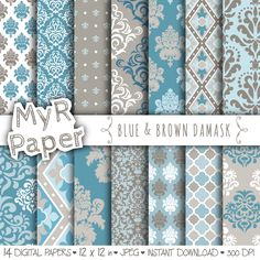 "With #love by @myrpaper #pattern #design #graphic #paperdesign #papercraft #scrapbooking #digitalpaper damask digital paper: ""BLUE & BROWN DAMASK"" with damask backgrounds and patterns for scrapbooking di MyRpaper su Etsy"