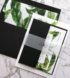 Tropical Wedding Invitation | Tropical Greenery Wedding Suite | Palm leaves | Monstera Leaves | Green And White invitations | Wedding Stationery | The Avalon Suite | Paper Minx Designs