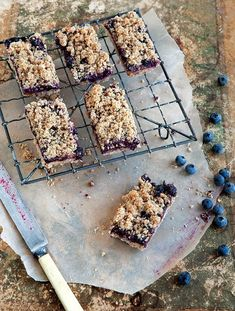 The Kitchn:  Blueberry Breakfast Bars   Cookbook Recipe from Whole-Grain Mornings (can use more rolled oats in place of the rye flakes)