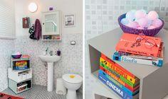 Que tal apostar em caixas para o banheiro? Os azulejos conversam com o acabamento cinzento do banheiro, e a decoração traz a alegria que arremata tudo!