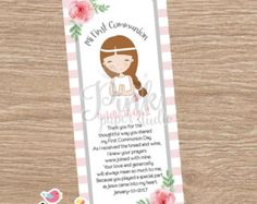First Communion Favor Cards/  Bookmark / Baptism Girl /