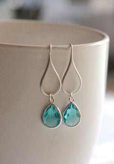 Silver Aquamarine Drop Earrings. Aquamarine Teardrop by RusticGem