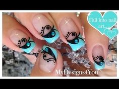 Valentine's Day Nail Art | Blue and Black French #mydesigns4you #nailart - bellashoot.com & bellashoot iPhone & iPad app