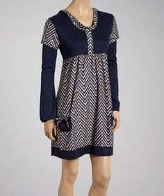 Another great find on #zulily! Navy & Beige Zigzag Double-Sleeve Dress - Women by Reborn Collection #zulilyfinds